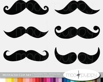 Mustache Clip Art - Rainbow Mustache -- INSTANT DOWNLOAD