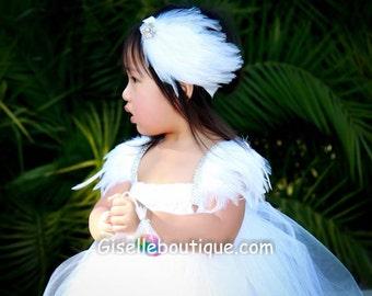 Flower girl dress. White Angelic Feather Sleeves Tutu Dress.baby tutu dress, toddler tutu dress, wedding, birthday, Newborn, 2t,3t,4t,5t