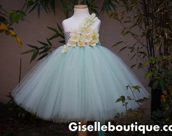Flower girl dress. Mint TuTu with Light Yellow.Mint flower girls dress. baby tutu dress, toddler tutu dress, wedding, birthday, Newborn,