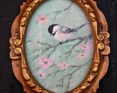 Pink Blossom Chickadee - Original 5 X 7 inch Oil on Canvas - in Fancy Frame