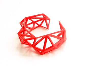 3d printed Triangulated Cuff bracelet in Coral Red. modern statement jewelry. geometric jewelry, summer color