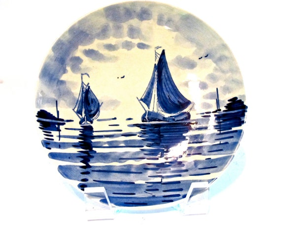 Vintage Delft Plate with Sailboats