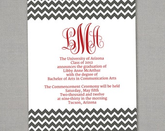Graduation Monogram Chevron Announcement -- Any Colors