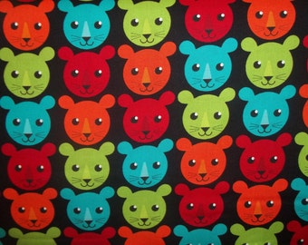 Roar Multi colored Lion heads on Black By Inkjet Designs By Marie Perkins for Robert Kaufman 1 yard cotton quilt fabric