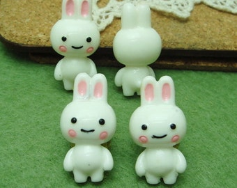 4 Pcs Lovely  Rabbit  Baby Cabochon  Pendant.13X25mm- Hand Paint