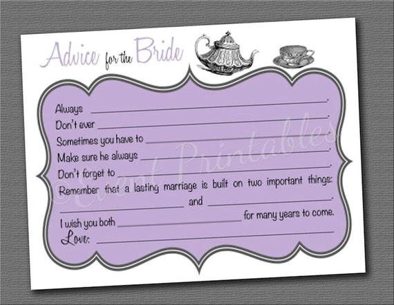 printable bridal shower advice cards diy tea party mad libs vintage