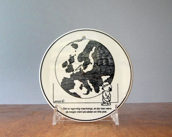 Vintage Storm P Danish Comic / Humorous Ceramic Plaque / Wall Plate