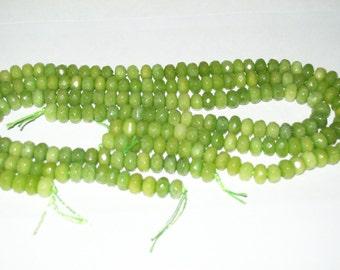 Peridot Rondelle Shaped Beads- 1/2 strands