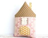 Decorative House Pillow Kids House Pillow Cotton Pillow Cottage Chic Secret Pocket Pillow Home Decor Pastel Kids Bedding Pink
