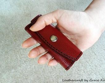 100% hand stitched handmade dark red cowhide leather key purse/ holder/ case