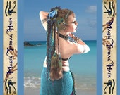 PEACOCK FEATHER hair piece Belly Dance hair fall Fantasy CUSTOM clip in extension Tribal Fusion tassels cowries Mermaid costume accessory