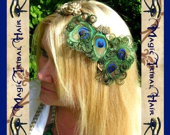 2 x PEACOCK feather HEAD PIECE Bride fascinator Bridesmaids hair clip barette Wedding hair jewelry Flower Girl adornment Baroque Renaissance