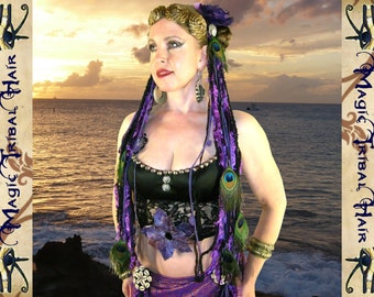 PEACOCK FEATHER yarn falls Tribal Fusion Belly Dance costume TASSELS for hip scarf & wrap skirt Fantasy hair extensions
