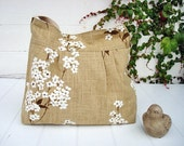 Spring Summer linen/cotton shoulder bag.