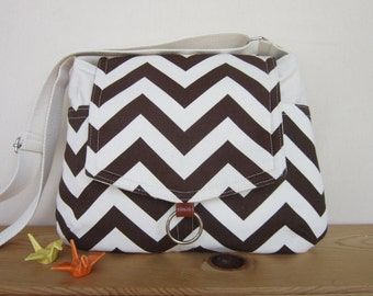 Dark brown Chevron cross body  bag/ipad messenger bag - One ready to ship
