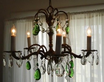 TREASURY ITEM  Vintage Euro Chandelier Emerald Crystals Original Bronze Plate and Embellished Chain