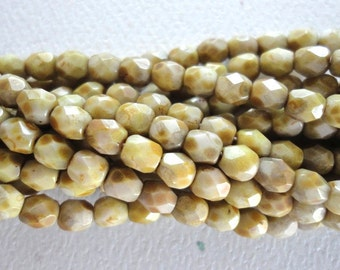Czech Beige Brown Picasso Glass Round Faceted 4mm Beads 50 Pieces (A028)
