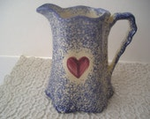 Vintage Blue Spongeware Buttermilk Pitcher