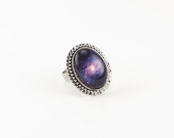 Nebula Galaxy Ring, Cosmic Jewelry, Adjustable Ring
