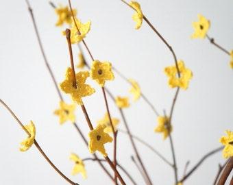 Sunny Yellow Crochet Forsythia Flower set (30 pcs)