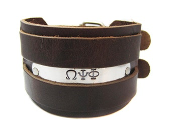 Wide Leather Fraternity Cuff Bracelet // Custom Greek Letter Jewelry // Personalized Leather Cuff //  Hand Stamped