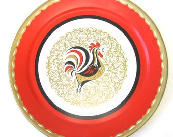Vintage MId Century Metal Rooster Tray