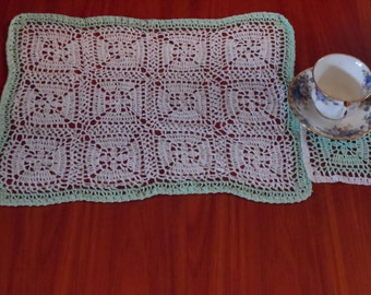 Vintage  Crochet Placemat and Coaster,Pdf Pattern,Instant Download