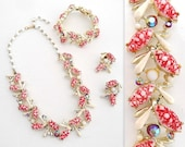 Vintage 1950s Necklace Bracelet and Earrings with Iridescent Rhinestones