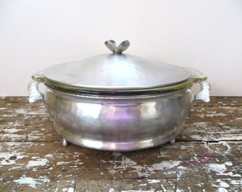 Hammered Aluminum Covered Dish Vintage Casserole Fire King Glass Dish