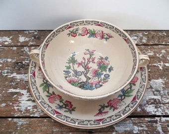 Antique Soup Bowl Bouillon Bowl J & G Meakin Sol Ware Indian Tree Bowl and Saucer