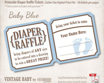 INSTANT DOWNLOAD, Printable Baby Shower Diaper Raffle Tickets, Letter Size, Digital File, Vintage Baby, Baby Blue, Baby Boy