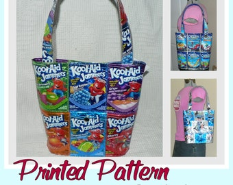 Juice Pouch Bucket Bag sewing pattern (Printed pattern -Postal delivery) DIY purse using recycled wrappers, novelty purse, ready-to-ship