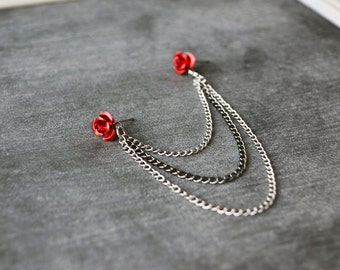 Red Rose and Gunmetal Chains Triple Chain Cartilage Earring (Single-Side)