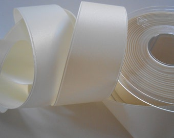 "Ribbon Ivory Luxe Satin Double Face 1 1/2""width 4 Yards"