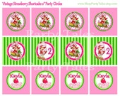"Strawberry Shortcake Vintage birthday party Personalized cupcake toppers favors tags custom Printable 2"" circles  PartyTales"