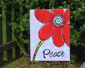bright red funky flower on 14x 18 stretched canvas acrylic Peace