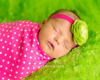 Baby Headband - Newborn Headband - Flower Headband - Green Headband