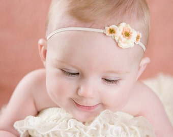 Baby Headband - Newborn Headband - Rose headband - Flower headband - Cream Ivory Headband Headband
