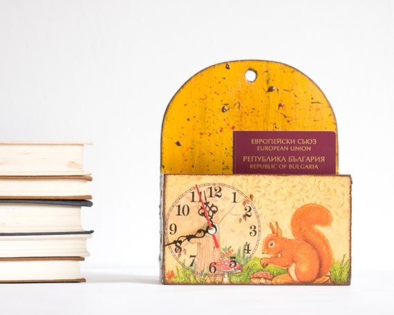 Whimsical Children Clock, Fairytale Wall Hanger, Wooden Hanging, Spring Forest, Yellow Brown Squirrel, Mushrooms, Kids Nursery decor ohtteam