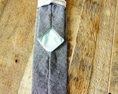 Reserved for Steve Men's Grey Chambray Skinny Tie