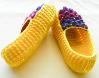Crochet Yellow Dragon Scale Slippers - Adult Sizes - Rainbow Crocodile Stitch Loafers with Hemp Soles - Made to Order