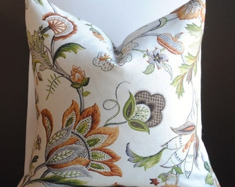 SALE-Designer Pillow Cover-20x20 -Jacobean Style- Ingrid-Floral--Brown-Taupe-Green-Rust-