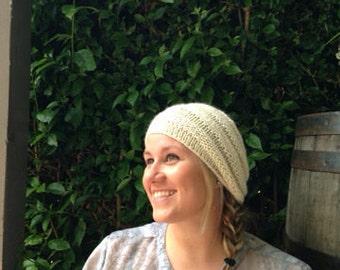 Cream ripple hat