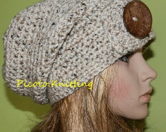 All Season Slouchy Hat in Oatmeal, Rasta Hat, Hippie Hipster Fall/Winter Beanie, Light Chunky teen Hat with Big Eco Coco Button