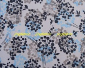 "W208A  - Vinyl Waterproof Fabric - Flowers on light grey  - 27""x19""(70cmX50cm)"