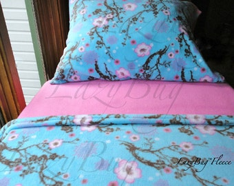 Cherry Blossom Toddler Crib Fleece Bedding Set for Girls Fits Crib & Toddler Beds