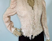 Vintage 1980s Pink Lace Embroidered Pearls Fitted Blazer Jacket sz Small