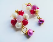 Red lilac purple cream flower gold wire wrapped earrings hand crafted in England real fw Pearls
