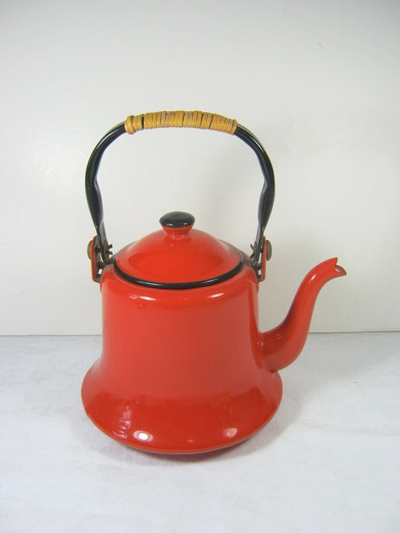 Red Tea Kettle ~ Vintage enamel kettle red tea enamelware kitchen japan