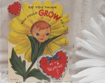 """4"""" Used Anthro Flower Vintage Do you think you could grow to be my Valentine"""